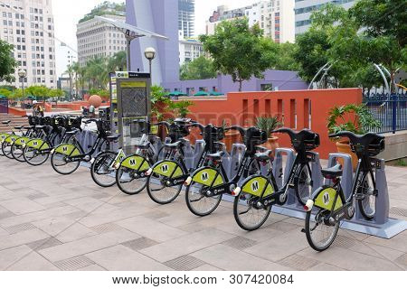 LOS ANGELES - CALIFORNIA: JUNE 18, 2019: A Metro Bike station in Pershing Square in downtown Los Angeles, administered by the Los Angeles County Metropolitan Transportation Authority.