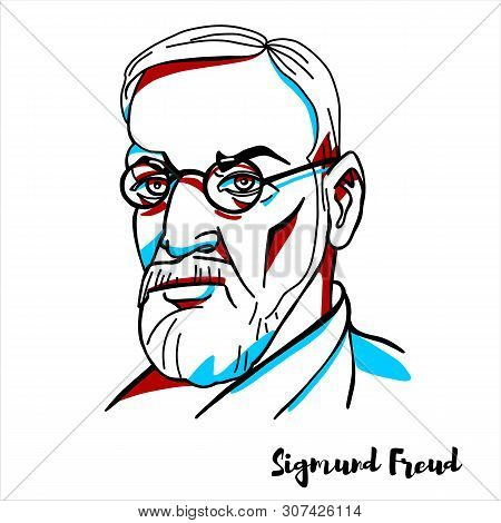 Sigmund Freud Engraved Vector Portrait With Ink Contours. Austrian Neurologist And The Founder Of Ps