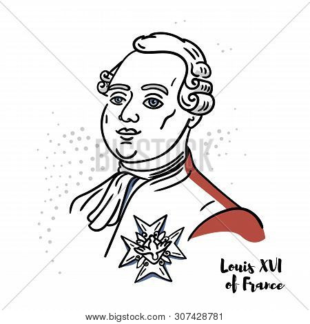 Louis Xvi Of France Flat Colored Vector Portrait With Black Contours. The Last King Of France Before