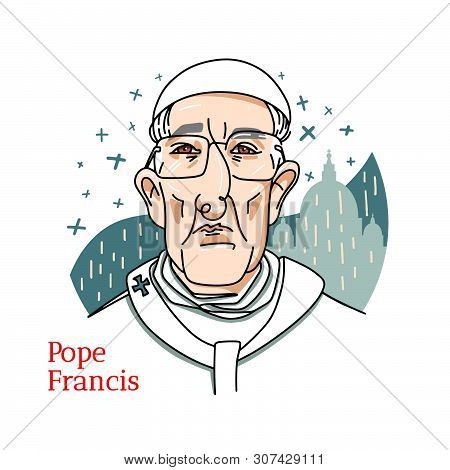 Pope Francis Colored Vector Portrait With Black Contours. The Head Of The Catholic Church And Sovere