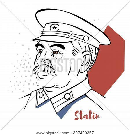 Joseph Stalin Flat Colored Vector Portrait With Black Contours.  Georgian Revolutionary And Soviet P