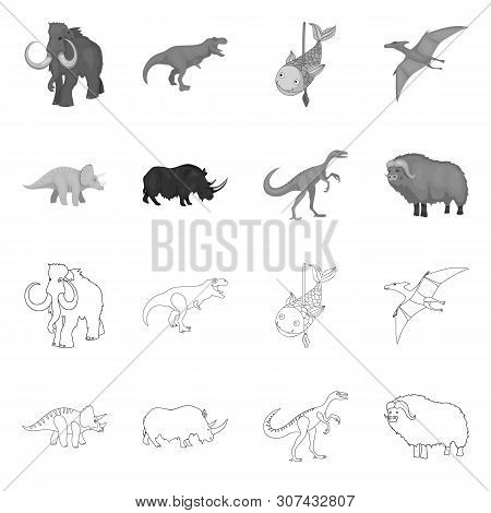 Isolated Object Of Animal And Character Sign. Set Of Animal And Ancient Stock Vector Illustration.