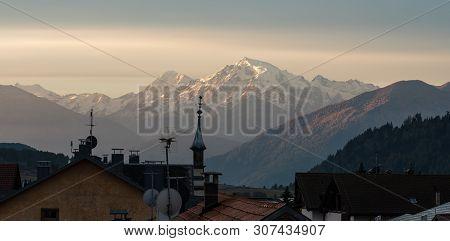Moning Scene Of The Ortler Peak On Background. Splendid Morning View Of Italian Alps, Italy, Europe.