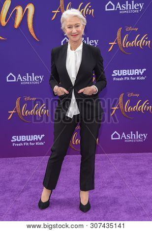 LOS ANGELES - MAY 21:  Helen Mirren arrives for the 'Aladdin' World Premiere on May 21, 2019 in Hollywood, CA