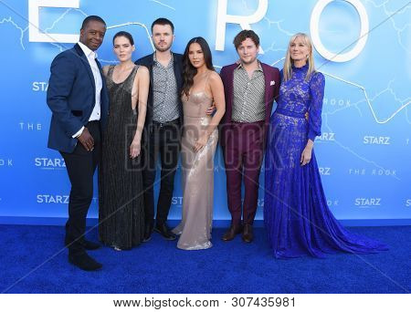 LOS ANGELES - JUN 17:  Adrian Lester, Emma Greenwell, Ronan Raftery, Olivia Munn, Jon Fletcher and Joely Richardson arrives for the STARZ 'The Rook' Premiere on June 17, 2019 in Los Angeles, CA