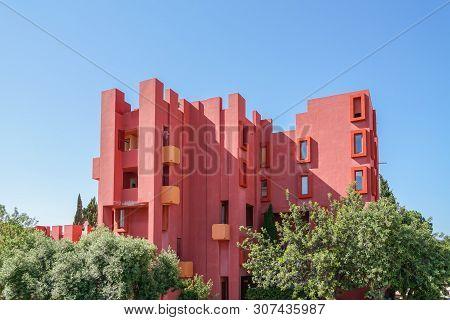 Calp, Spain, 17 June, 2019: Walls Of Red Wall Building. La Muralla Roja Building In Calp, Spain