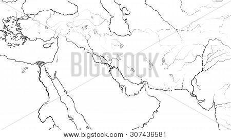 World Map Of Middle East Region: Asia Minor, Near East, Levant, Turkey, Armenia, Syria, Iraq, The Em