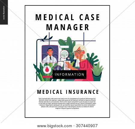 poster of Medical insurance template -medical case manager -modern flat vector concept digital illustration of a manager reordering the medical procedures and diagnoses, process metaphor, medical insurance plan