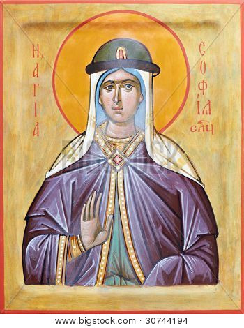 Orthodox religious Icon of Holy russian saint Sophia of Slutsk on gilding wood