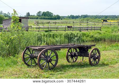 Old Wooden Cart Wagon Green Grass Landscape