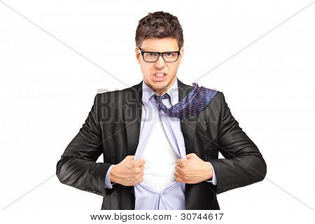 Superhero businessman opening blue shirt, blank white t-shirt underneath provides excellent copy space for your image, text or logo