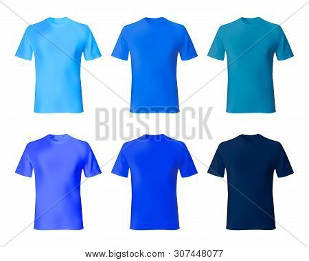Shirt Design Vector Template. Set Men T Shirt Navy Blue, Indigo Color. Realistic Mockup Shirts Model