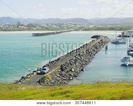 Coffs Harbour Marina Rock Breakwall And The Nearby Restored Coffs Harbour Ocean Timber Jetty. Safe H