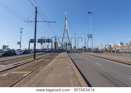Rotterdam, Netherlands - April 18, 2019 : Rotterdam Erasmus Bridge Close-up View On A Clear Day