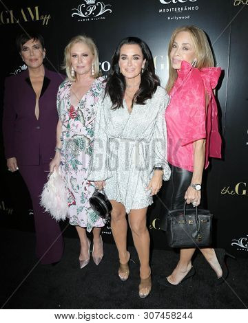 LOS ANGELES - JUN 19:  Kris Jenner, Kathy Hilton, Kyle Richards, Faye Resnick at the The Glam App Celebration Event at the Cleo on June 19, 2019 in Los Angeles, CA