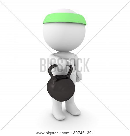 3D Character Holding A Kettlebell In On Hand