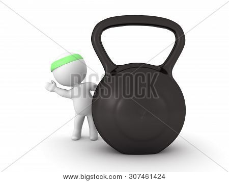 3D Character Leaning On Kettlebell
