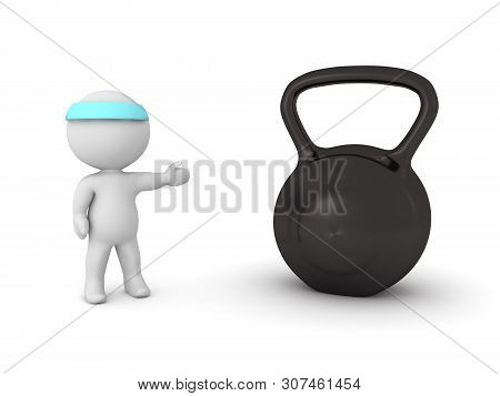 3D Character Showing Kettlebell