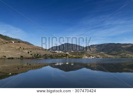 View Of Douro River With Terraced Vineyards Near The Village Of Foz Coa, In Portugal; Concept For Tr