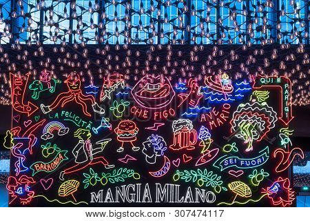 Paris, France - April 15, 2019 : Neon Decorated Board At The Entry Of La Felicita Bar-restaurant In