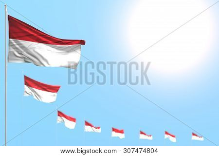Cute Day Of Flag 3d Illustration  - Many Monaco Flags Placed Diagonal With Bokeh And Free Place For