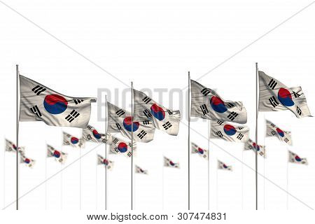 Wonderful Day Of Flag 3d Illustration  - Republic Of Korea (south Korea) Isolated Flags Placed In Ro