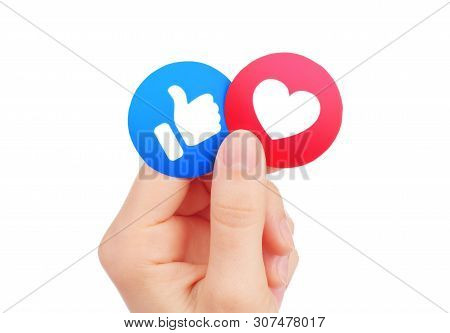 Kiev, Ukraine - May 15, 2019: Hand Holds New Facebook Like And Love Empathetic Emoji Reactions, Prin