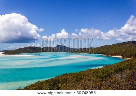 Whiteheaven Beach On A Beautiful Sunny Day With Clouds, Whitsunday Island, Queensland, Australia