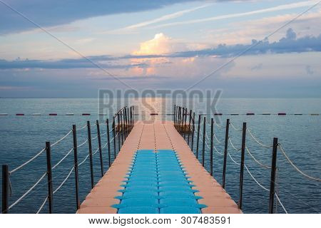 Travel Vacation Tropical Destination. Pier On The Sea Landscape. Travel Vacations Destination. Trave