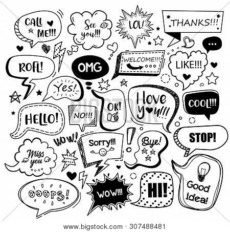 Set Of Black Speech Bubbles With Different Words In Doodle Style For Communication In Social Media.