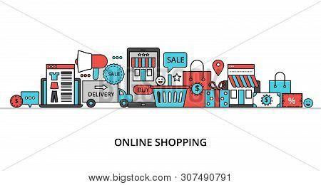 Modern Flat Thin Line Design Vector Illustration, Concept Of Online Shopping, Internet Sales With Re
