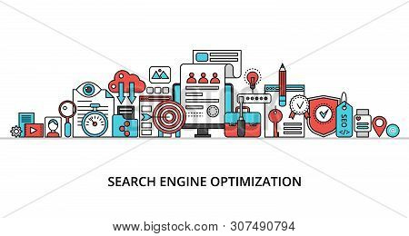 Modern Flat Thin Line Design Vector Illustration, Concept Of Search Engine Optimization, For Graphic