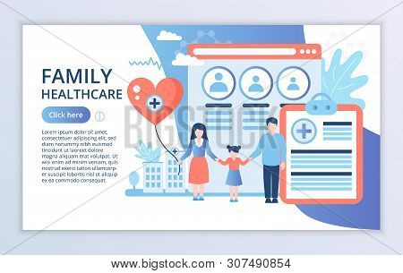 Creative Website Template Of Family Healthcare Concept, Modern Flat Design Vector Illustration, For