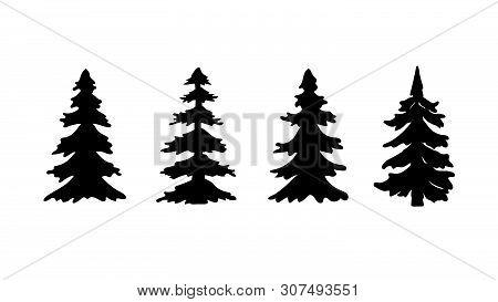 Set Of Silhouette Pine Tree Or Christmas Tree. Vector Illustration.