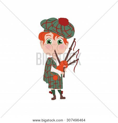 Red Hair Boy With Striped Hat Scottish Nation