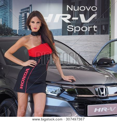 Stand Girl At Salone Auto Torino (turin Auto Show)
