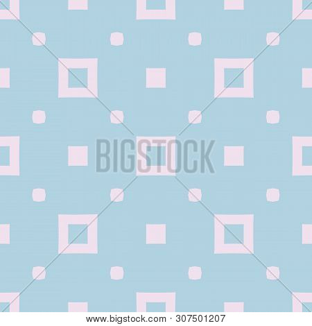 Vector Minimalist Geometric Seamless Pattern With Squares, Dots. Subtle Background In Light Turquois