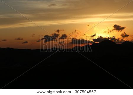 Sunset on the mountains at the Natural park of Calblanque. Cartagena, Spain poster