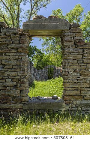 A Window In The Remains Of An Old Grist Mill.