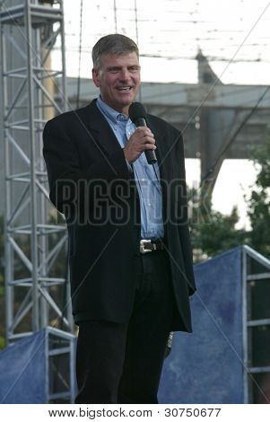 NEW YORK - JUNE 25: Franklin Graham speaks on the second night of the Billy Graham Crusade at Flushing Meadows Corona Park on June 25, 2005 in Flushing, New York.