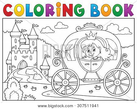 Coloring Book Princess Carriage Theme 2 - Eps10 Vector Picture Illustration.
