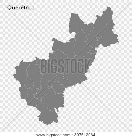 High Quality Map Of Queretaro Is A State Of Mexico, With Borders Of The Municipalities