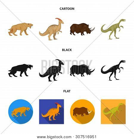 Vector Illustration Of Animal And Character Sign. Set Of Animal And Ancient Stock Symbol For Web.