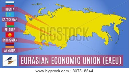 Vector Schematic Map Of The Member States Of The Eurasian Economic Union (eaeu).  Russia, Belarus, K