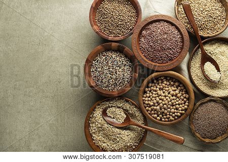 Various Of Healthy Seeds And Cereals - Sesame, Flax Seed, Chia Seeds, Soybean, Buckwheat And Oats. C