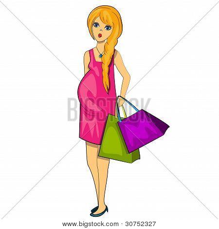 preggy woman shopping. pregnant girl