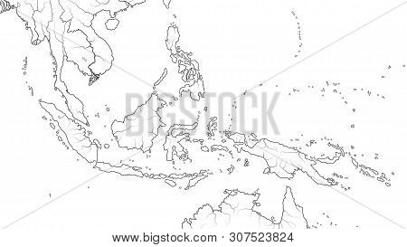 World Map Of Southeast Asia Region: Indochina, Thailand, Malaysia, Indonesia, Philippines, Sumatra,