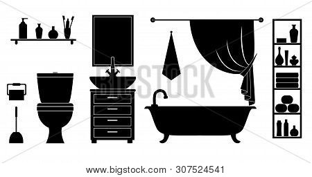 Lavatory With Bathtub, Toilet, Sink And Accessories. Vector Silhouette Of The Interior.