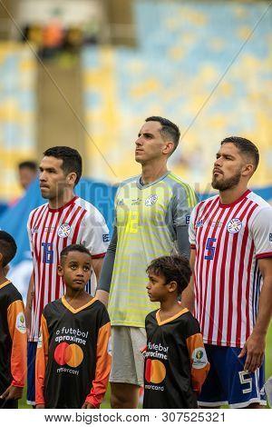 Rio De Janeiro, Brazil - June 16, 2019: R. Fernandez Of Paraguay Kicks The Ball During The 2019 Amer