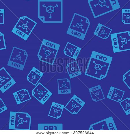 Blue Obj File Document Icon. Download Obj Button Icon Isolated Seamless Pattern On Blue Background.